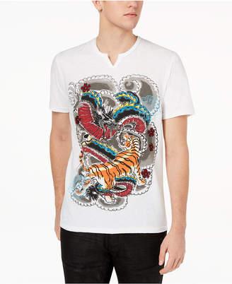 INC International Concepts I.n.c. Men's Graphic-Print Split-Neck T-Shirt, Created for Macy's