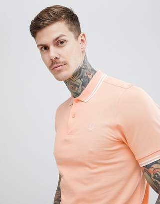 Fred Perry Riviera Twin Tipped Polo Shirt In Peach