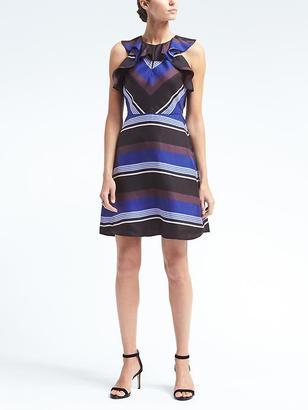 Stripe Ruffle Silk Dress $158 thestylecure.com