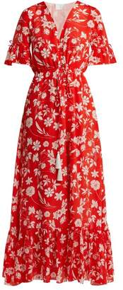 Athena procopiou Procopiou - Farrah Floral Print Silk Dress - Womens - Red Multi