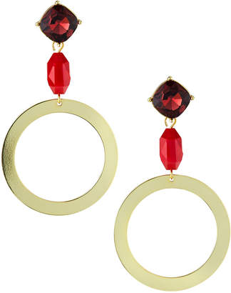 Stella & Ruby Circle Drop & Stone Earrings, Burgundy