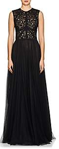 Sophia Kah Women's Floral Lace & Mesh Gown-Black