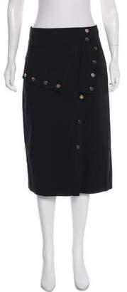 Tibi Snap-Accented Knee-Length Skirt