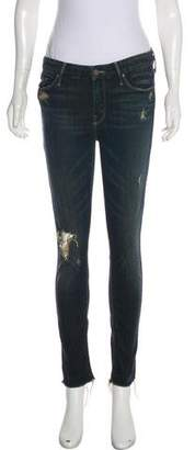 Mother Jaded and Torn Crop Jeans