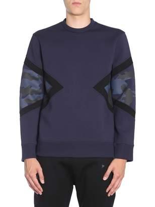 Neil Barrett Sweatshirt With Modernist Camo Detail