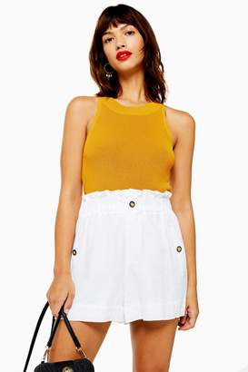 Topshop Womens Knitted Racer Tank Top - Mustard