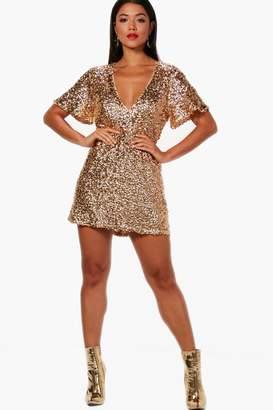 boohoo Boutique Sequin Short Sleeve Shift Dress