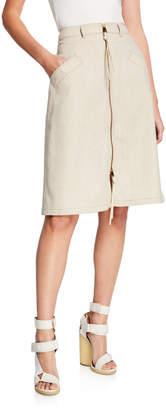 Agnona Wool-Cashmere Zip-Front Skirt