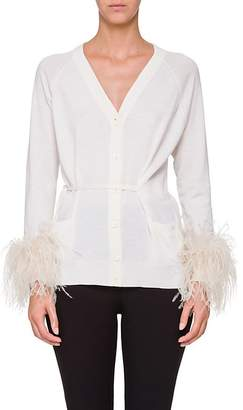 Prada Women's Ostrich-Feather-Embellished Cotton Cardigan