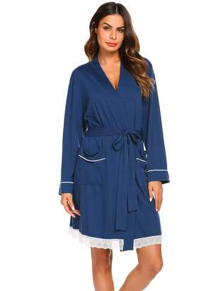 Ekouaer Womens Bathrobe Cotton Lightweight Nightgowns Sleepwear Spa Robe 2a8a879b2