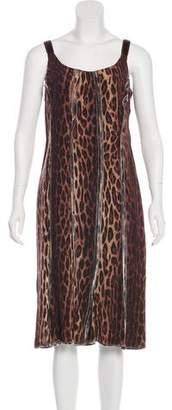 Blumarine Leopard Print Midi Dress