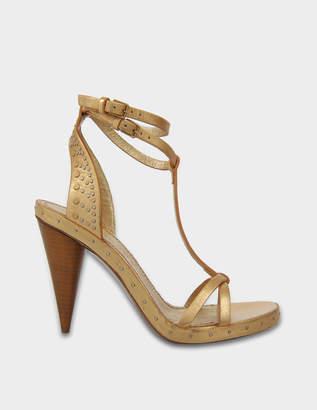 Burberry Cone-Heel Metallic Hans Sandals in Gold Vacchetta Laminata