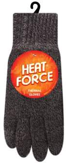 Heat Force Men's Thermal Gloves, Charcoal L/XL