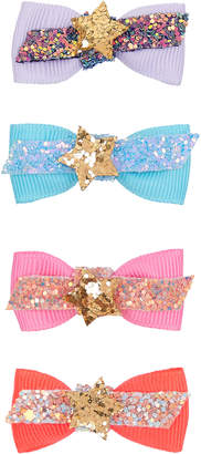 Monsoon 4x Disco Star Bow Hair Clips