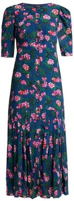 Saloni Colette Azalea Print Silk Crepe De Chine Dress - Womens - Blue Multi
