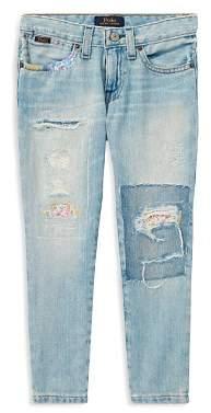 Ralph Lauren Girls' Floral-Patch Slim-Fit Boyfriend Jeans - Big Kid