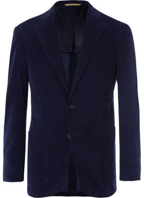 Canali Midnight-Blue Kei Slim-Fit Cotton-Corduroy Suit Jacket