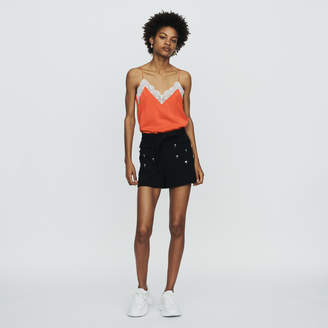 Maje Crepe shorts with palm jewels