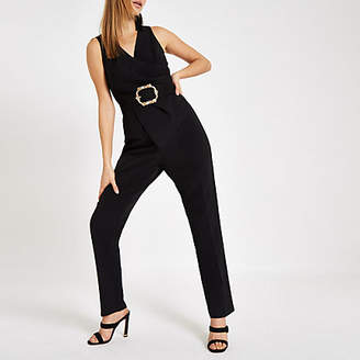 River Island Black wrap front tapered leg jumpsuit