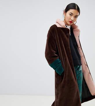 NA-KD Na Kd faux fur midi color block coat in brown