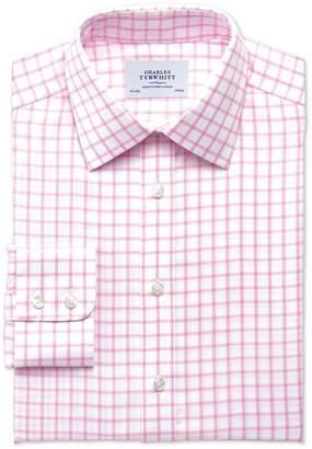 Charles Tyrwhitt Slim Fit Non-Iron Twill Grid Check Light Pink Cotton Dress Shirt Single Cuff Size 16.5/34