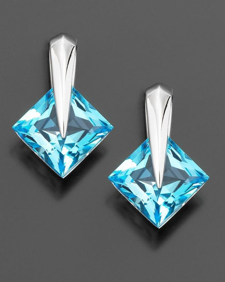 14k White Gold Blue Topaz Earrings (6-1/8 ct. t.w.)