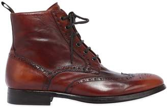 Wing Tip Washed Leather Boots