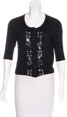 Oscar de la Renta Embellished Short Sleeve Cardigan