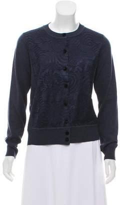 Marc Jacobs Lace-Paneled Wool & Silk Cardigan