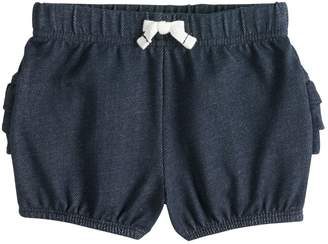 Baby Girl Jumping Beans Ruffled Denim-Like Bubble Shorts