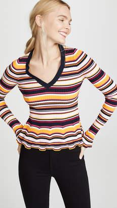 Cinq à Sept Striped Zana Ribbed Pullover