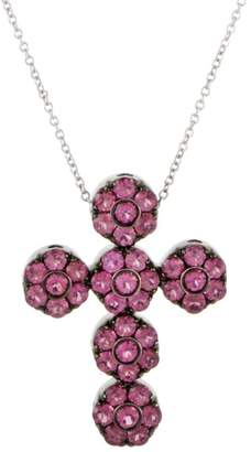 Pasquale Bruni Fiori 18K White Gold Tourmaline and Sapphire Cross Pendant Necklace