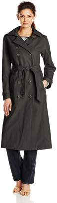 T Tahari Women's Long Double Breasted Trench Coat with Detachable Hood