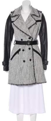 Rachel Zoe Leather-Trimmed Tweed Coat