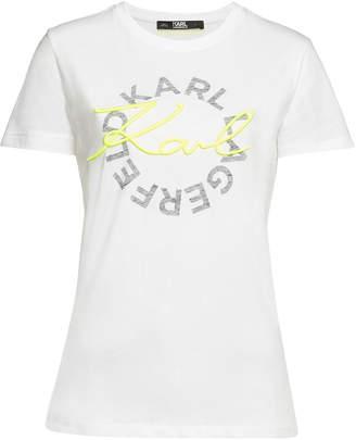 Karl Lagerfeld Neon Lights Printed Cotton T-Shirt