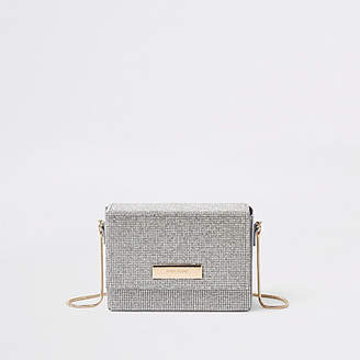 River Island Silver rhinestone chain mini cross body bag