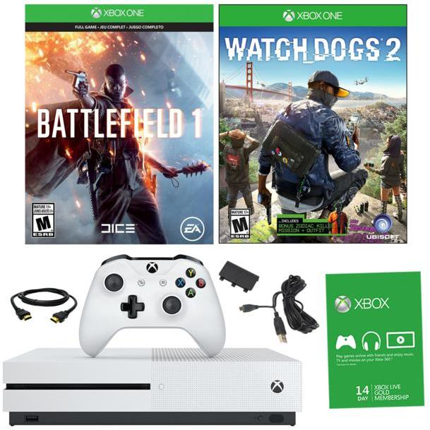 "Microsoft Xbox One S 4K Ultra HD 500GB White Console with ""Battlefield 1"" and ""Watch Dogs 2"" Games and Battery Pack"