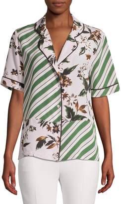 Diane von Furstenberg Mixed-Print Silk Shirt