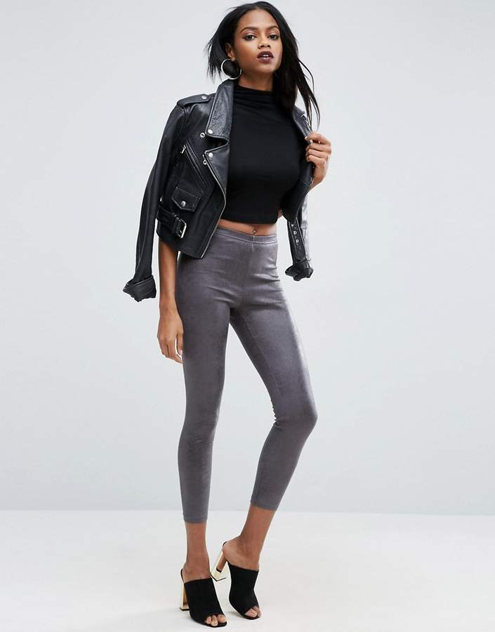 Grey Leather Look Leggings