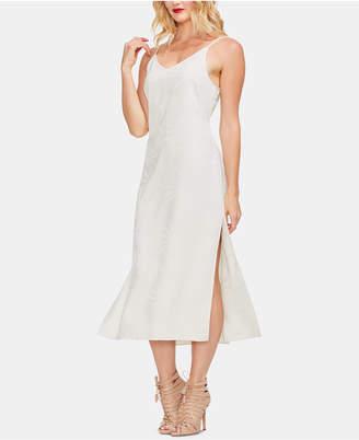 Vince Camuto Leaf-Print V-Neck Dress