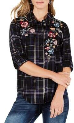 Style&Co. Style & Co. Petite Embroidered Plaid Button-Down Shirt