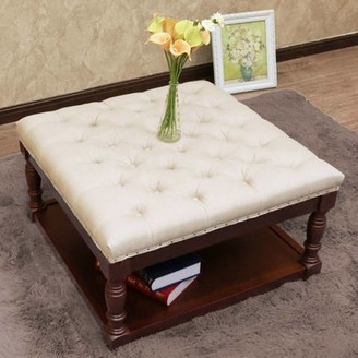 Unbranded Cairona Fabric 30-inch Tufted Shelved Ottoman (Optional Colors)