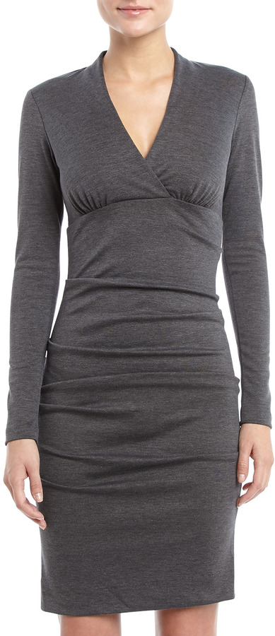 Nicole Miller Ruched Ponte Dress, Charcoal