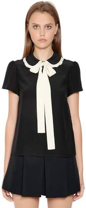 RED Valentino Bow Collar Silk Crepe De Chine Blouse