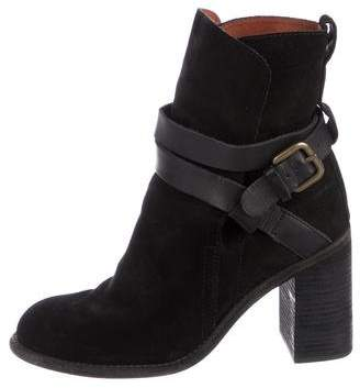 See by Chloe Suede Round-Toe Booties