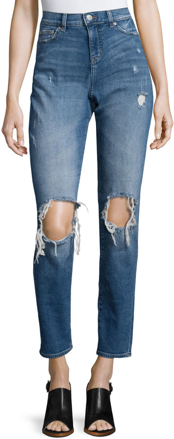 Cheap Monday Cheap Monday High-Waist Cropped Boyfriend Jeans, Blue Destroy
