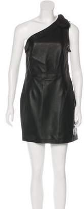 Valentino Leather One-Shoulder Dress