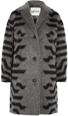 Kenzo Striped Felt Coat - Gray