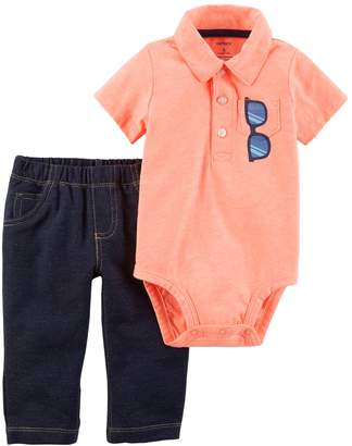 Carter's Baby Boy Sunglasses Polo Bodysuit & Faux-Denim Pants Set