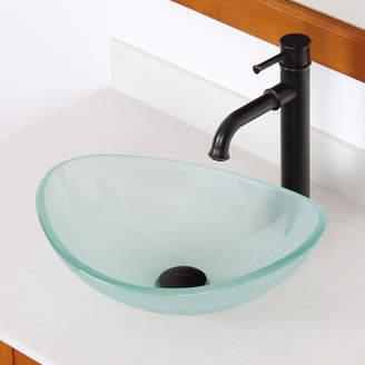 Elite Mini Tempered Glass Oval Vessel Bathroom Sink Sink